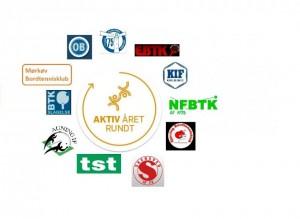 """Logo for """"Aktiv Året Rundt"""" med de deltagende bordtennisklubber"""